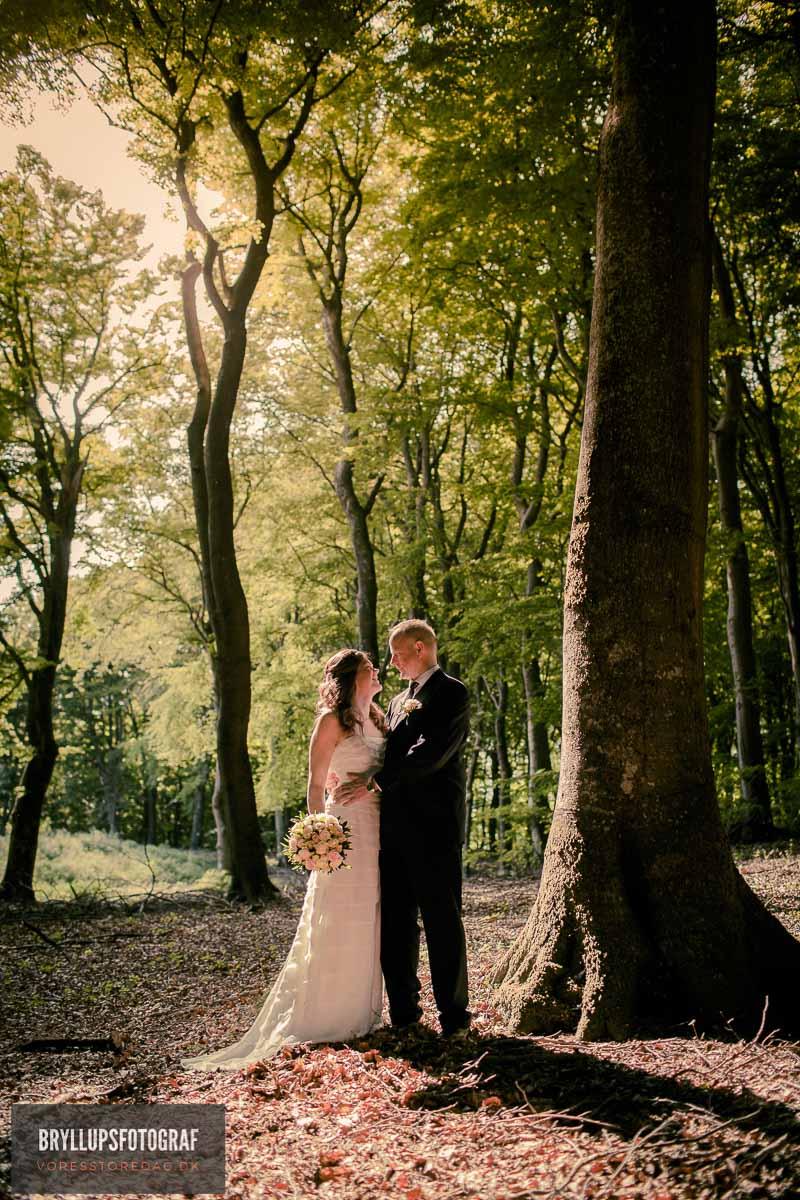 bryllupsfotografering Sonnerupgaard Gods i skov