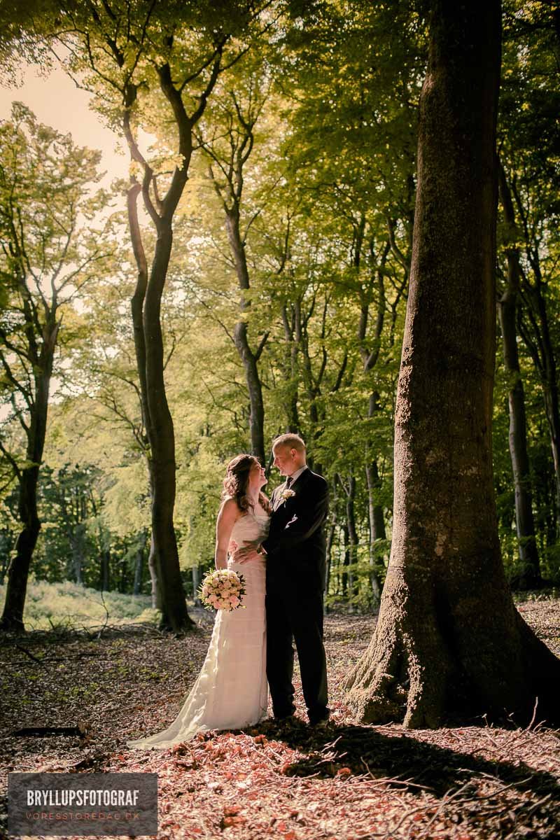 bryllupsfotografering Comwell Kellers Park i skov